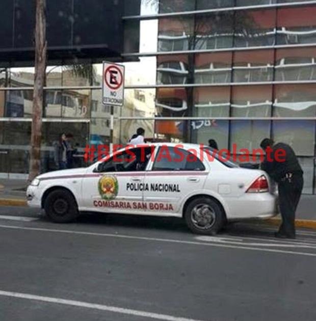 policia mal estacionado en San Borja