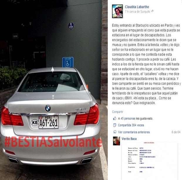 starbucks peru (delosi) no hace respetar el estacionamiento exclusivo para discapacitados