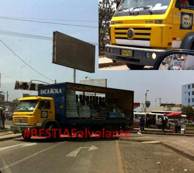 Camión de Inca Kola maneja EN CONTRA, pudiendo provocar un grave ACCIDENTE