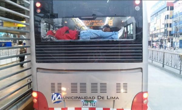 Metro4 - Durmiendo plácidamente sobre el motor del bus, arriesgando su vida ante un accidente, saldrá volando